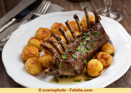 Grilled rack of lamb chops with potatoes
